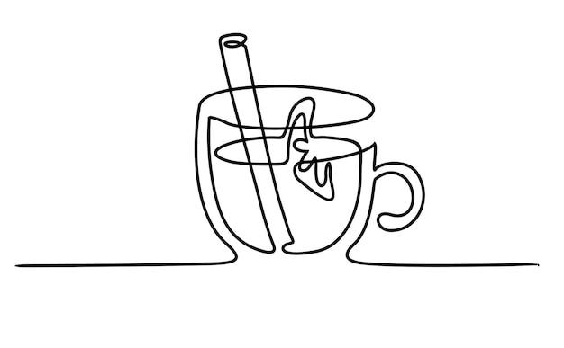 Fundo de banner de vetor de uma linha de menu de bebidas quentes com vinho quente doodle arte de linha única
