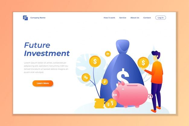 Fundo de banner de web de investimento de dinheiro