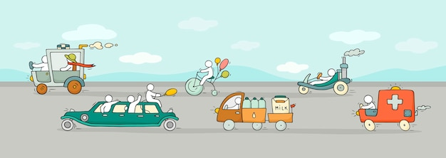 Fundo de banner dos desenhos animados com diferentes modos de transporte.