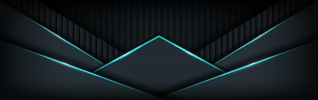 Fundo de banner escuro de luxo com combinações de linhas azuis