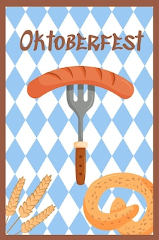 Fundo de banner festivo da oktoberfest garfo com salsicha e pretzel com decoração de trigo.