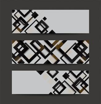 Fundo de banner moderno gradiente quadrado preto e branco moderno