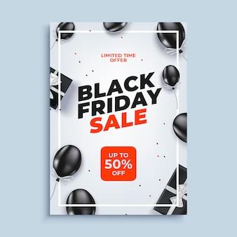 Fundo de banner preto venda sexta-feira com cartaz de balões