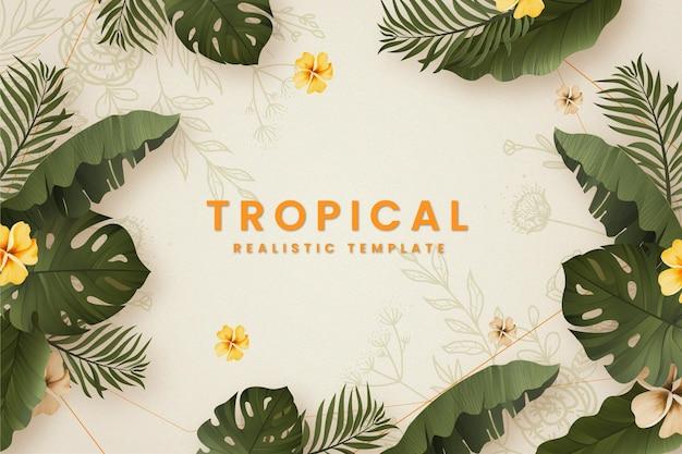 Fundo de banner tropical com folhas de verão realistas