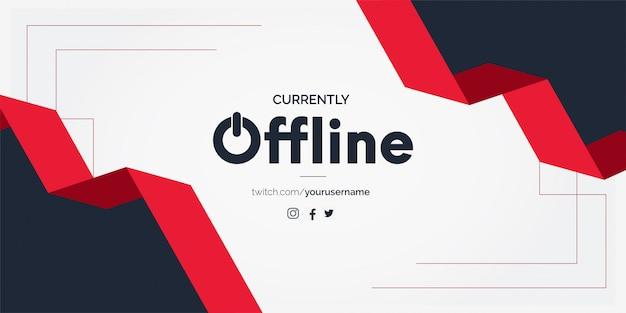 Fundo de banner twitch offline com formas de fita