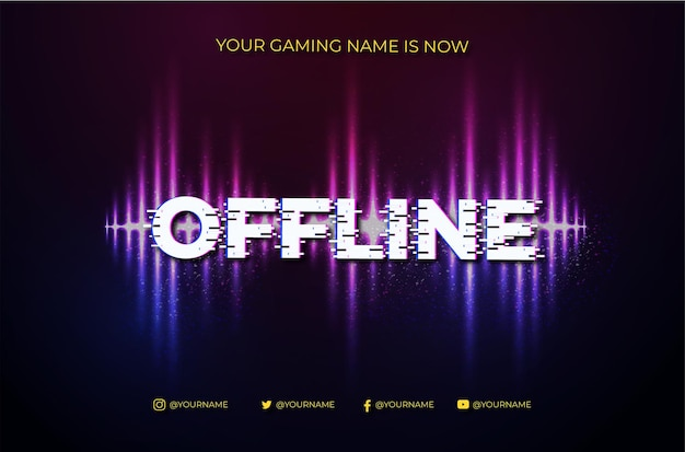 Fundo de banner twitch offline moderno com abstract sound wave degrade
