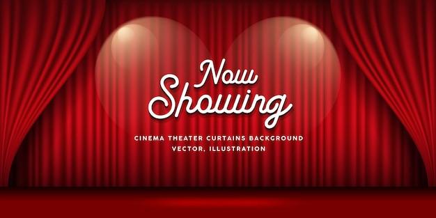 Fundo de banner vermelho de cortinas de cinema