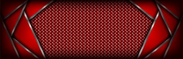 Fundo de banner vermelho escuro luxo abstrato com forma de prata