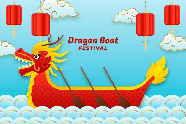 Fundo de barco de dragão em estilo de papel