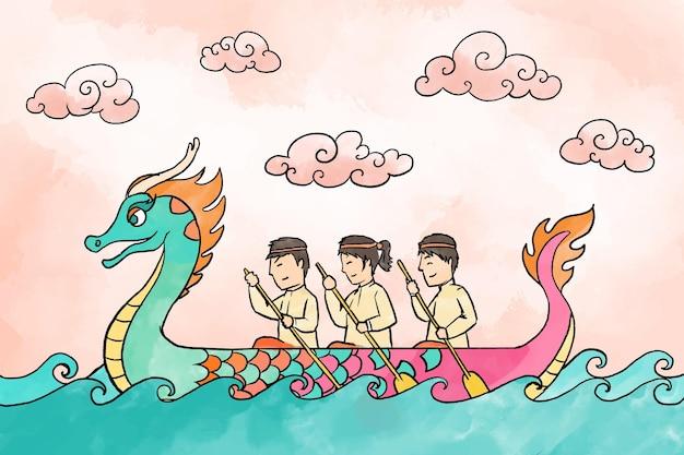 Fundo de barco dragão aquarela