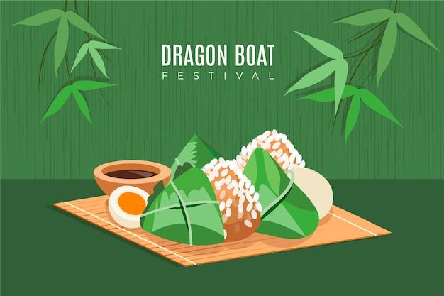 Fundo de barco dragão desenhado à mão