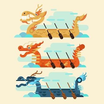Fundo de barco dragão em design plano
