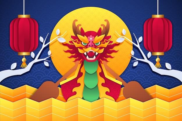Fundo de barco dragão em estilo de jornal