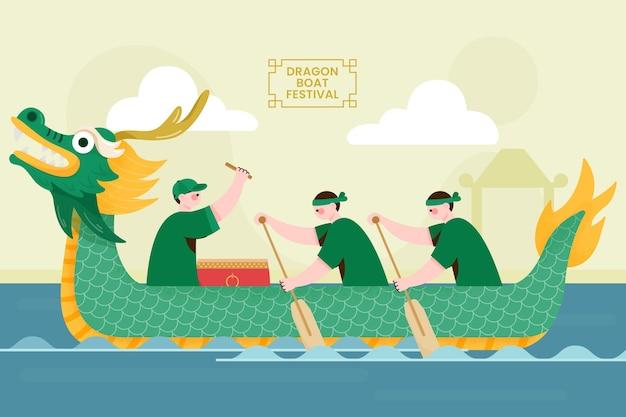 Fundo de barco dragão plano orgânico