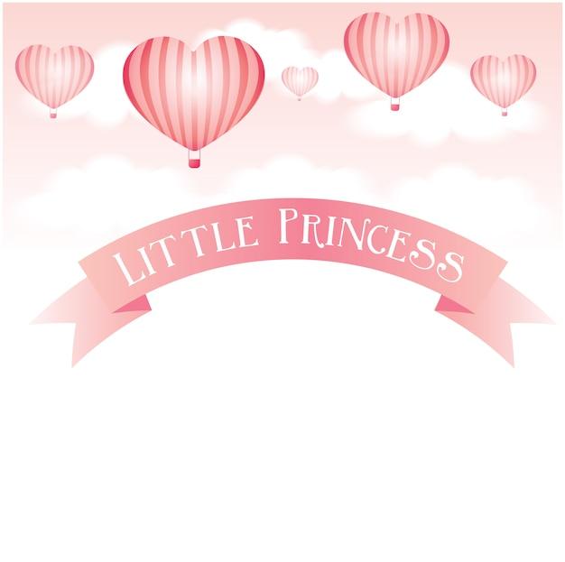 Fundo de bebê com balões em forma de coração