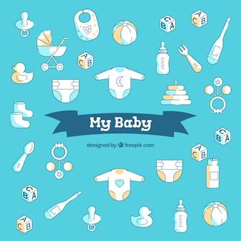 Fundo de bebê em estilo plano