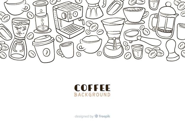 Fundo de bebida de café mão desenhada