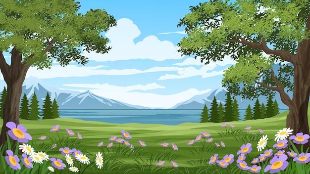 Fundo de bela natureza com árvores e campos floridos