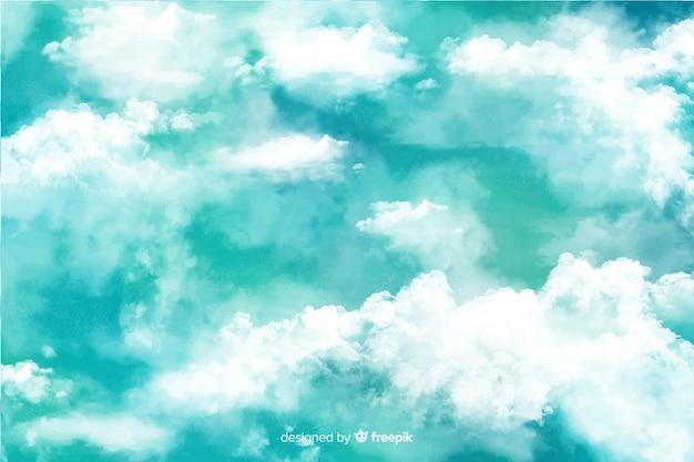 Fundo de belas nuvens em aquarela