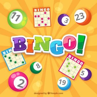 Fundo de bingo com cédulas e bolas coloridas