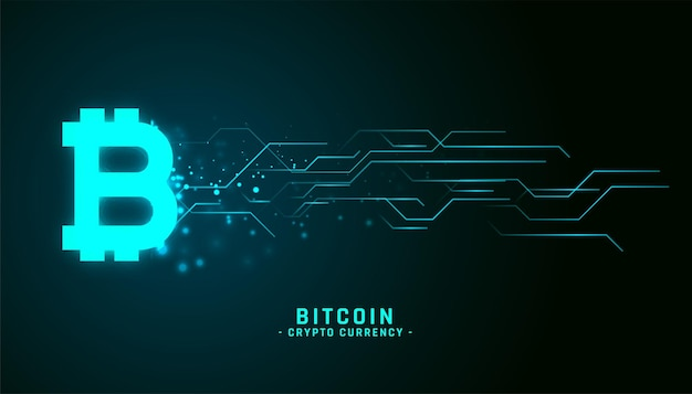Fundo de bitcoin estilo néon brilhante com linhas de circuito