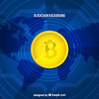 Fundo de blockchain com mapa do mundo