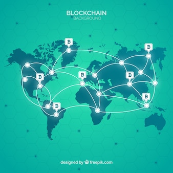 Fundo de blockchain com mapa do mundo
