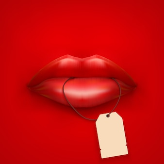 Fundo de boca de mulher com etiqueta e lábios