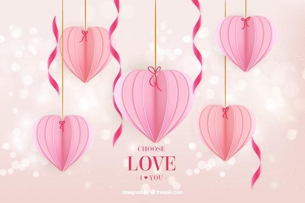 Fundo de bokeh com decoração de coração