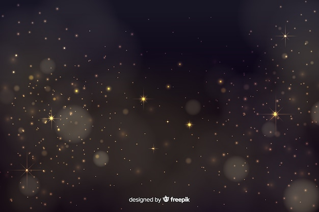 Fundo de bokeh com partículas douradas
