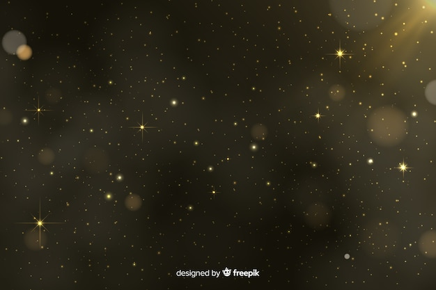 Fundo de bokeh de partículas douradas