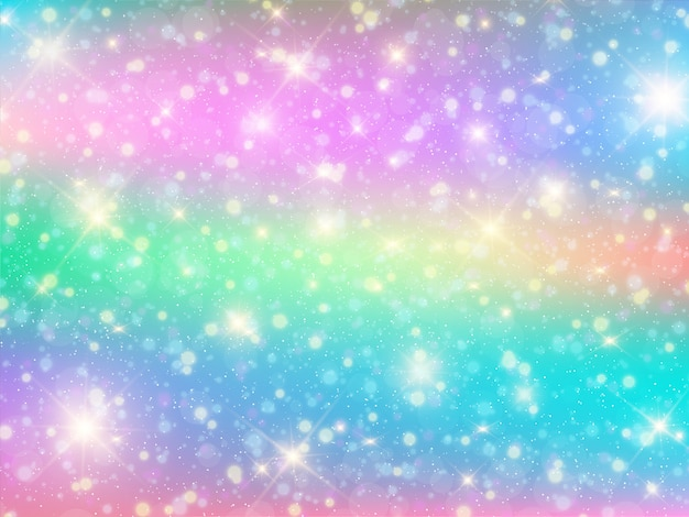 Fundo de bokeh kawaii com princesa de arco-íris