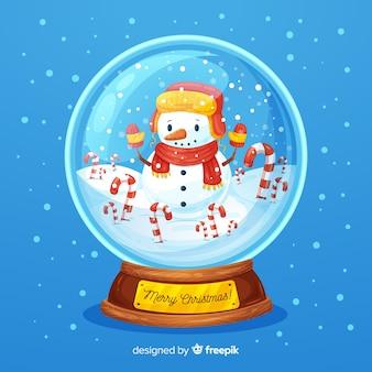 Fundo de bola de neve de natal