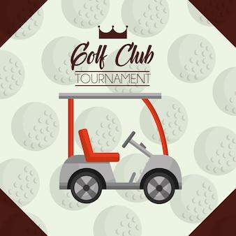 Fundo de bola de torneio de clube de golfe de carro