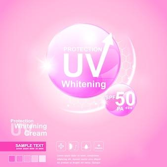 Fundo de bola rosa de vetor de proteção uv para produtos para a pele