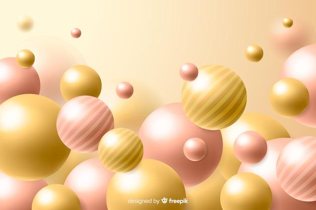 Fundo de bolas brilhantes fluindo realista