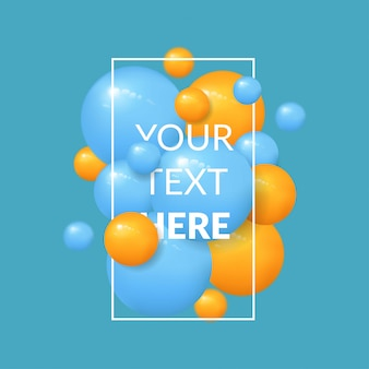 Fundo de bolas com modelo de texto