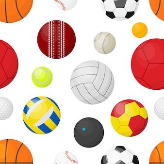 Fundo de bolas de esporte faixa plana sem costura com bolas para futebol, basquete, futebol, beisebol