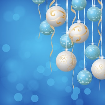 Fundo de bolas de natal, cores azuis e brancas