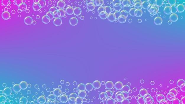 Fundo de bolha com shampoo espuma e sabão detergente. pulverização e respingos mínimos. quadro de água realista e borda. layout de ilustração vetorial 3d. fundo de bolha líquido colorido roxo.
