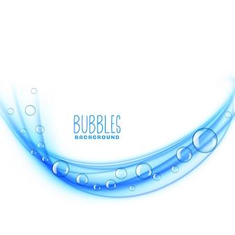 Fundo de bolhas azuis onduladas