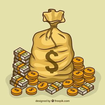 Fundo de bolsa com símbolo de dólar e dinheiro