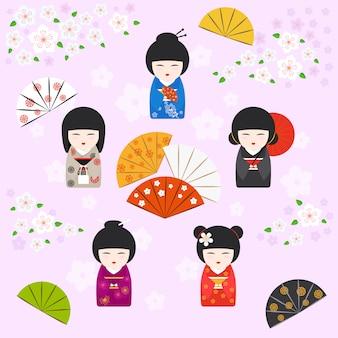 Fundo de bonecas kokeshi de gueixa japonesa