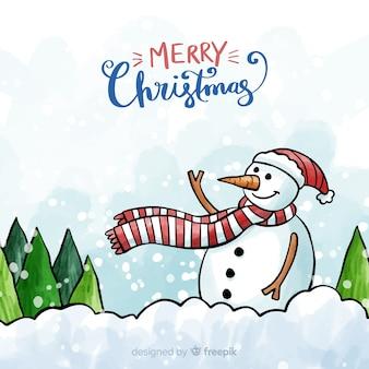 Fundo de boneco de neve acenando aquarela de natal