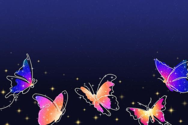 Fundo de borboleta brilhante, borda violeta estética, ilustração vetorial de animais