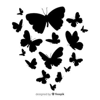 Fundo de borboleta de silhueta