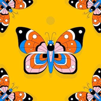 Fundo de borboleta plana linear