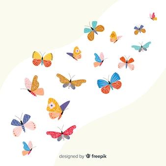 Fundo de borboletas decoradas planas