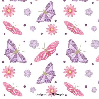 Fundo de borboletas e flores em aquarela