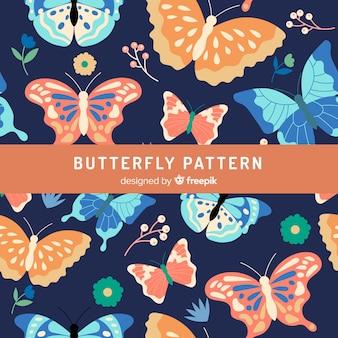 Fundo de borboletas e flores